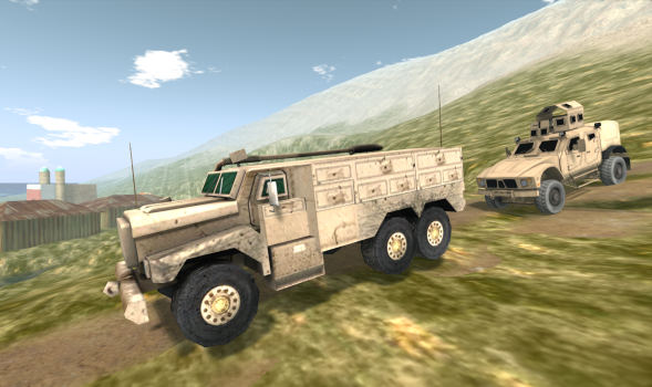 Mesh vehicle convoy on the MOSES grid. (Image courtesy Douglas Maxwell.)
