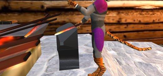 Furry avatar holds hammer and sword. (Image courtesy Avination.)