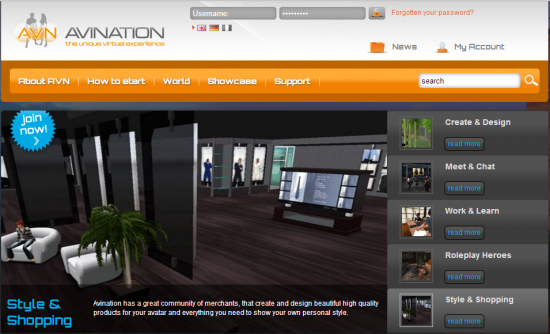 Home page of the Avination grid, at www.avination.com