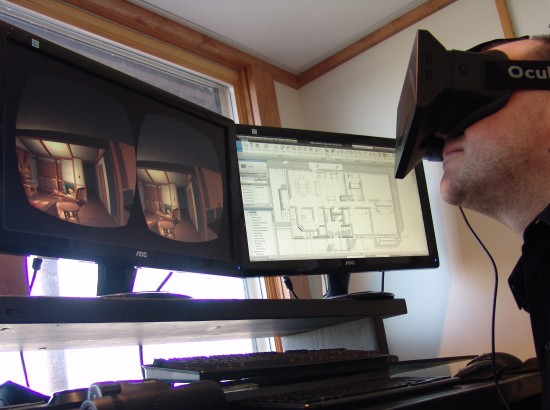 Exploring a virtual model of an architecture project with Oculus Rift. (Image courtesy Jon Brouchoud.)