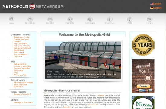 Metropolis grid home page at www.hypergrid.org