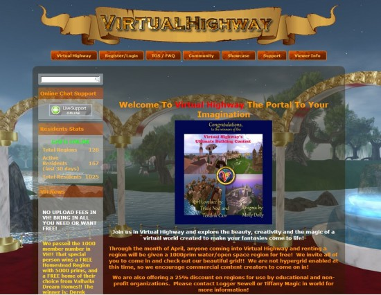 Virtual Highway home page at www.virtualhighway.us
