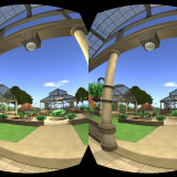 Second Life's Ahern area as seen with the Oculus Rift. (Image courtesy David Rowe.)