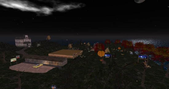 The Halloween-themed Stonehaven Party Isle on Littlefield grid. (Image courtesy Littlefield Grid.)