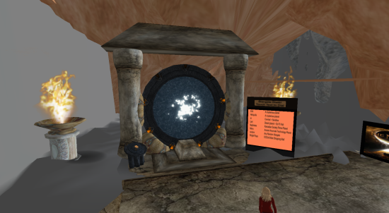 A gate by OSgrid's Lani Global, with a list of destinations.