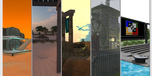 Five virtual environments on the Alchemy Sims Grid. From left: Mars Classroom (Aphros region), Wheely Island (Hydrargyrum region), All-Access Game (Ferrum), CrackPot Works (Private) and the Ideagora (Cuprum).   Visit via hypergrid teleport at grid.alchemysims.com:8002:Aphros