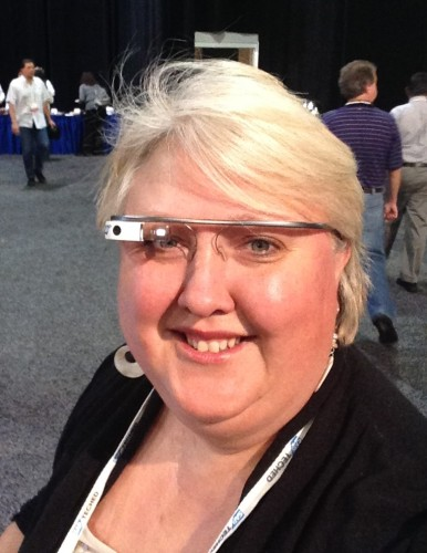 I'm wearing Google Glasses at the SAP TechEd conference.