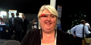 Maria wearing Google Glasses at SAP TechEd conference