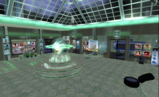 The InWorldz/Second Life Connection Center in the Pearl region of InWorldz. (Image courtesy Danko Whitfield.)