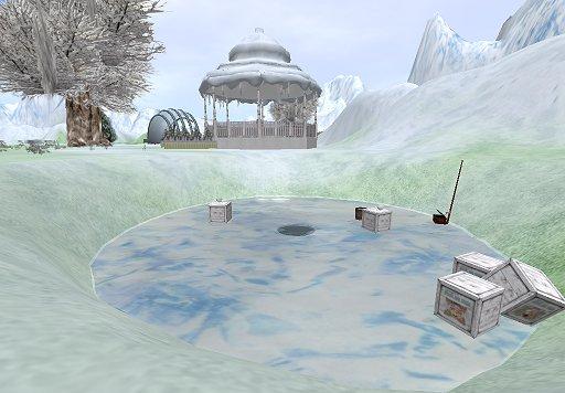 Ice fishing area and a snow-covered gazebo on Linda Kellie's Winter OAR. (Image courtesy Linda Kellie.)