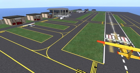 The airport on the Water Islands area of Next Reality. (Image courtesy Danko Whitfield.)