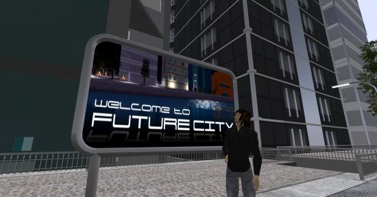 Entrance to Future City on Next Reality. (Image courtesy Danko Whitfield.)