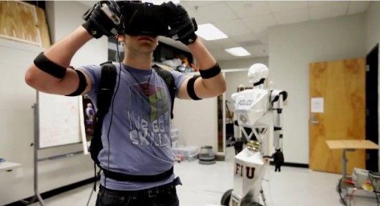 Student controls the robot by moving his own fingers, arms and head, and sees everything the robot sees via the Oculus Rift.