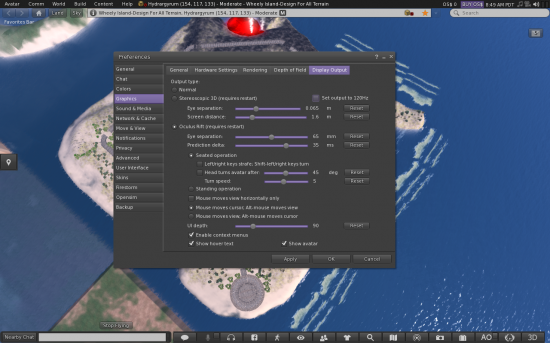 Settings menus for Stereoscopic 3D, Oculus Rift and Kinect in the CtrlAltStudio viewer. (Image courtesy Ann Latham Cudworth.)