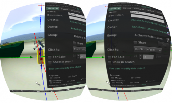 Trying to build something in SL with the Oculus Rift viewer. (Image courtesy Ann Latham Cudworth.)