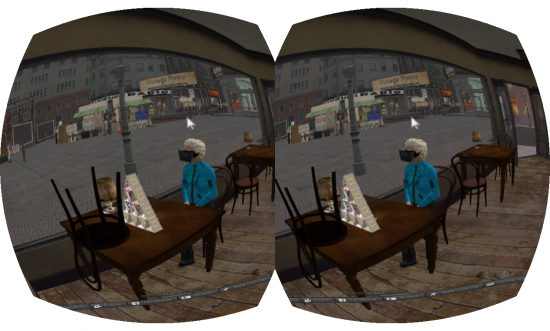 Sitting in a café with the Rift on. (Image courtesy Ann Latham Cudworth.)