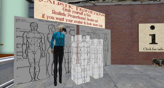Screen shot of my SL avatar in Berlin, about to enter real world scale section. (Image courtesy Ann Latham Cudworth.)