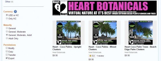 Heart Botanicals on Kitely Market sells in US dollars with permission to export to other grids.