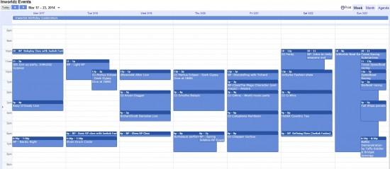 InWorldz events calendar