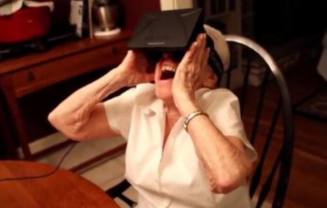 Elderly grandmother tries on the Oculus Rift for the first time to visit the Tuscan Villa simulation. (Click image to watch full YouTube video.)