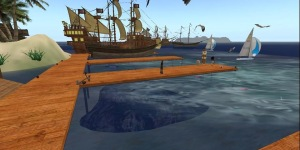 A pirate-themed gaming area on the old AviWorlds grid. (Image courtesy AviWorlds.)