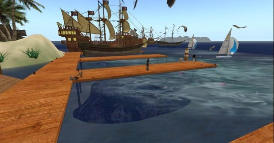 A new pirate-themed gaming area on AviWorlds. (Image courtesy AviWorlds.)