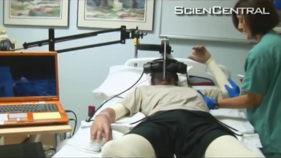 Soldier gets treatment for burns while in a winter-themed virtual reality game. (Click image for video.)
