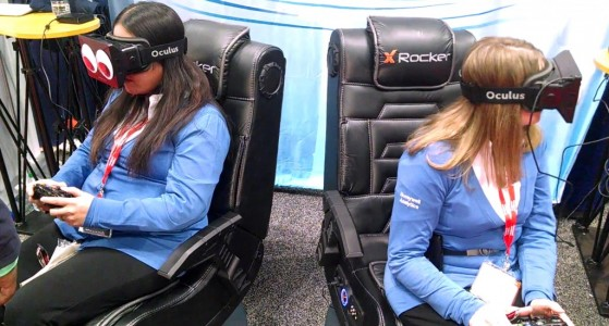 Conference attendees wearing Oculus Rift virtual reality headsets. (Image courtesy ArchVirtual.)