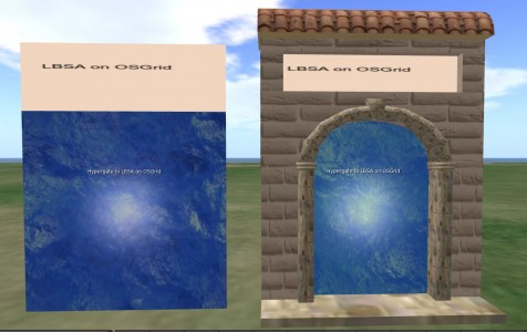 The object on the left is the scripted functional gate. You can slide it into the gateway of your choice.
