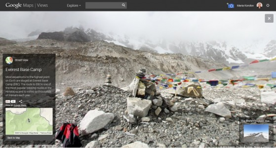 Mt. Everest base camp on Google Street View.