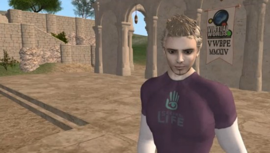 Philip Rosedale gives keynote address at the 2014 Virtual Worlds Best Practices in Education conference in Second Life.