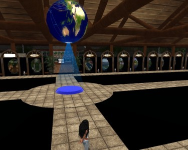 The Teleport Hud Center connects visitors to notable in-world destinations. (Image courtesy Tangle Grid.)
