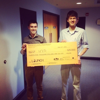 Shane Scranton (left) and Nate Beatty win grand prize at LaunchVT 2014. (Image courtesy Launch VT.)