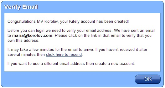 Kitely verify email