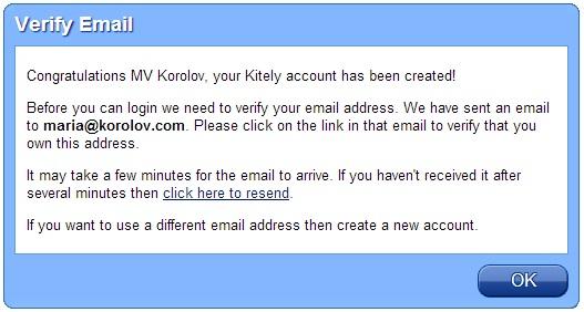 Kitely verify email