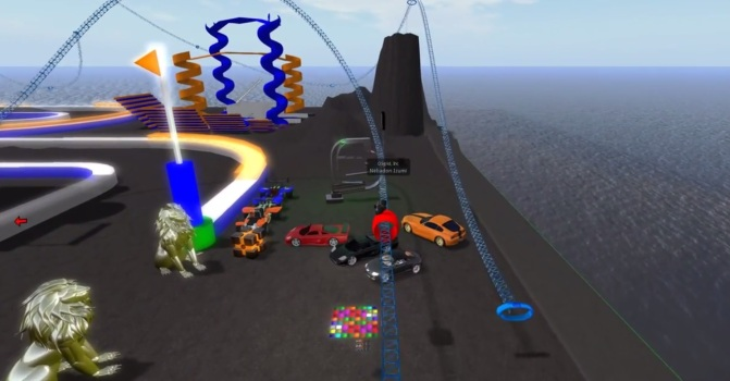 Bullet physics roller coaster by Michael Cerquoni, also known as Nebadon Izumi in-world. Click image for full video.
