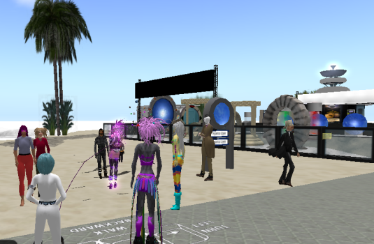 The Hypergrid Safari, a group of avatars who go on tours of other grids, visits the Hyperica hyperport.