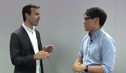 Tested's Norm Chan (right) talks with Oculus VP of Product Nate Mitchell (left).