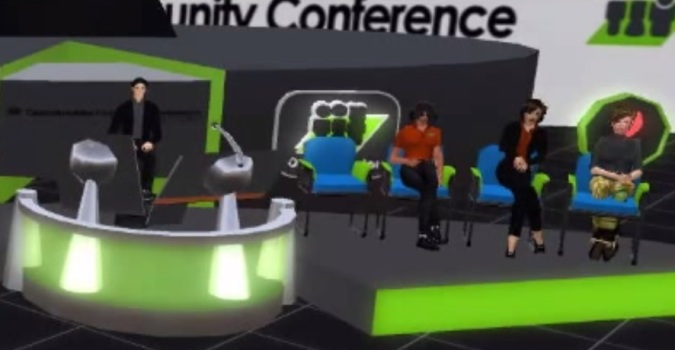 Justin Clark-Casey giving a presentation about OpenSim performance at OSCC14.