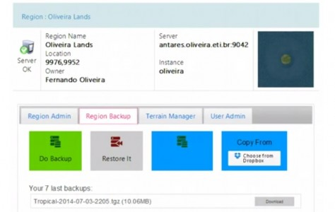 Oliveira's management panel allows for easy region backups and restores.