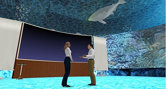 A virtual acquarium is a great place to teach a client to swim with the sharks. (Image courtesy Venuegen.)