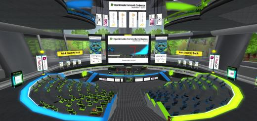 One of the presentation areas at the OpenSim Community Conference grid. (Image courtesy AvaCon.)