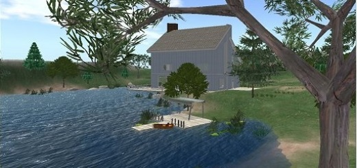 Linda Kellie's Lake House region, one of dozens of fully built regions, complete with poses and animations.
