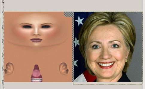 The Linda Kellie skin next to Hillary Clinton's headshot.