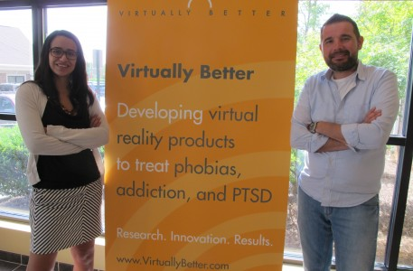 Alumni and friends Dawn McDaniel and Marat Zanov work at Georgia-based Virtually Better, Inc., to develop virtual reality treatments for anxiety disorders such as post-traumatic stress disorder (PTSD), which frequently affects veterans. Both earned Ph.D.s in psychology at USC Dornsife. (Photo courtesy of Marat Zanov and Dawn McDaniel.)
