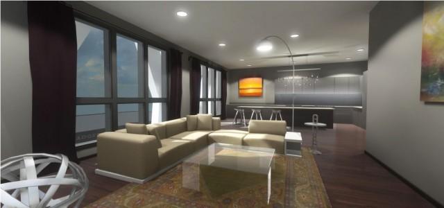 Western unit 101 living room. (Image courtesy NetZero Homes.)
