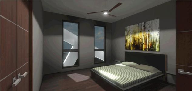 Western unit 103 bedroom. (Image courtesy NetZero Homes.)