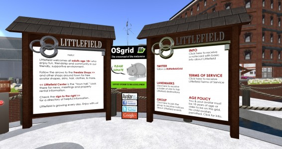 One of several OSgrid fundraising boxes on Littlefield Grid. (Image courtesy Walter Balazic.)