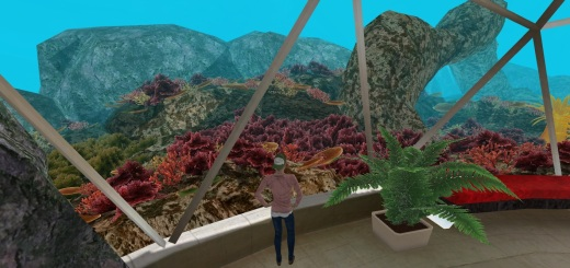 An undersea scene in MeshRoom, a realXtend-based Web-based virtual environment platform.