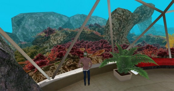 An undersea scene in MeshMoon, a realXtend-based Web-based virtual environment platform.